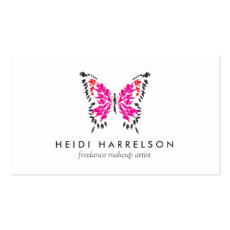 Pink Butterfly Logo II for Freelance Makeup Artist Pack Of Standard Business Cards