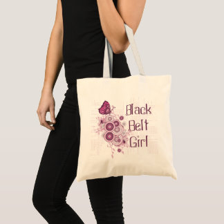 Pink Butterfly Martial Arts Black Belt Girl Tote Bag
