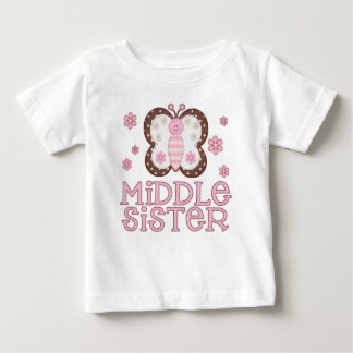 Pink Butterfly Middle Sister Baby T-Shirt