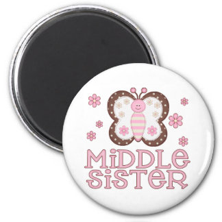Pink Butterfly Middle Sister Fridge Magnet