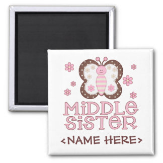 Pink Butterfly Middle Sister Magnets