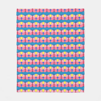 Pink Butterfly on Blue Fleece Blanket