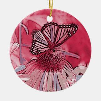 Pink Butterfly On Digital Flower Round Ceramic Decoration