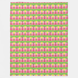 Pink Butterfly on Green Fleece Blanket