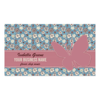 Pink butterfly on Vintage Floral Blue Pattern Pack Of Standard Business Cards