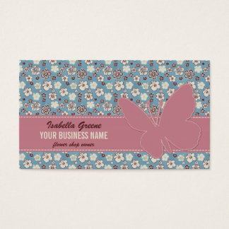 Pink butterfly on Vintage Floral Blue Pattern Business Card