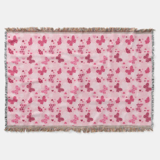 Pink butterfly pattern Throw blanket