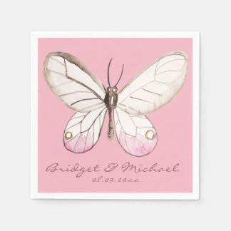 Pink Butterfly Personalized Wedding Paper Napkins
