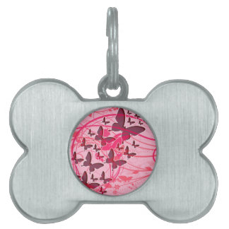 Pink Butterfly Pet Tag