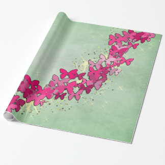 Pink Butterfly Princess Wrapping Paper