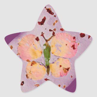Pink Butterfly purple star sticker, envelop sealer Star Sticker