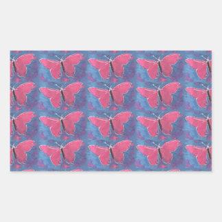 pink butterfly rectangular sticker