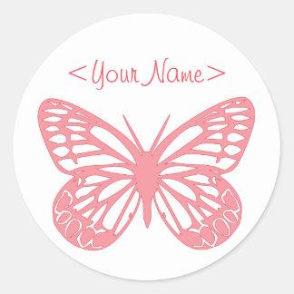 Pink Butterfly Round Sticker