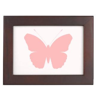 Pink Butterfly Silhouette Design on Light Pink Keepsake Box