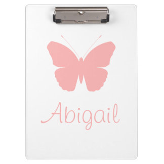 Pink Butterfly Silhouette Design (Personalised) Clipboard