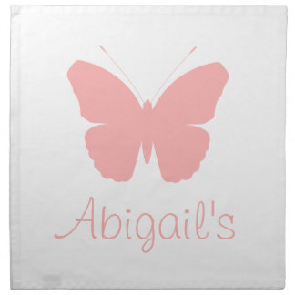 Pink Butterfly Silhouette Design (Personalised) Printed Napkin