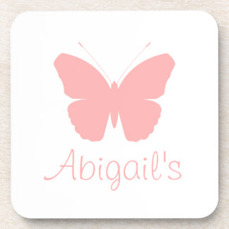 Pink Butterfly Silhouette Design (Personalised) Coaster