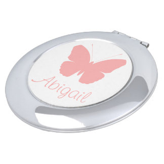 Pink Butterfly Silhouette Design (Personalised) Compact Mirror