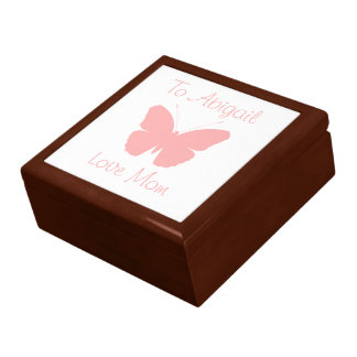 Pink Butterfly Silhouette Design (Personalised) Large Square Gift Box