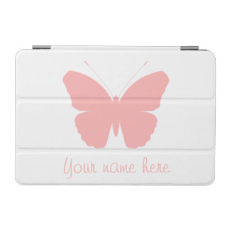 Pink Butterfly Silhouette Design (Personalised) iPad Mini Cover
