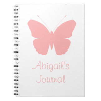 Pink Butterfly Silhouette Design (Personalised) Notebook