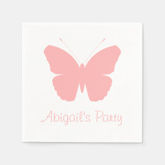 Pink Butterfly Silhouette Design (Personalised) Paper Napkins