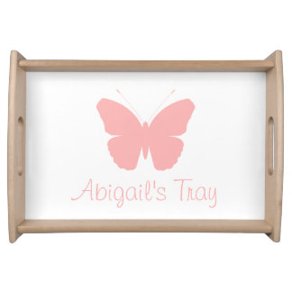 Pink Butterfly Silhouette Design (Personalised) Serving Tray