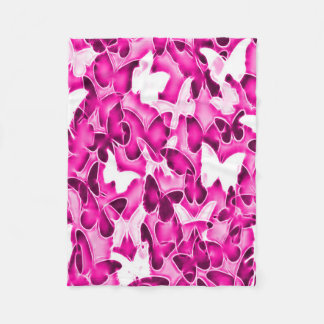 Pink Butterfly Sparkle Camo Fleece Blanket