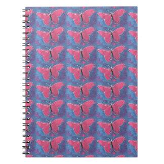 pink butterfly spiral notebook