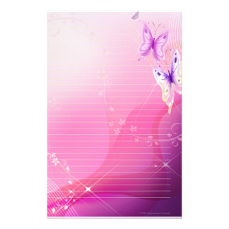 Pink Butterfly Stationary Stationery