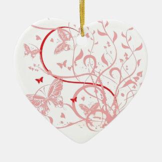 Pink Butterfly Swirls Ceramic Heart Decoration
