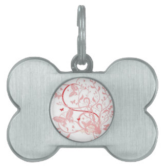 Pink Butterfly Swirls Pet ID Tag
