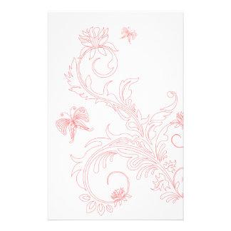 Pink Butterfly Swirls Stationery