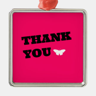 Pink Butterfly Thank You Silver-Colored Square Decoration