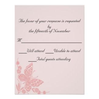 Pink butterfly Wedding Response Card Custom Invite