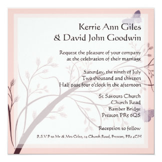 Pink Butterfly Wedding Stationery 13 Cm X 13 Cm Square Invitation Card
