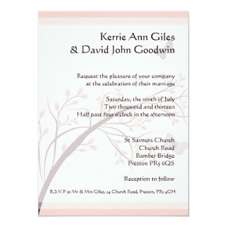 Pink Butterfly Wedding Stationery Card