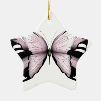 Pink Butterfly Wild Rose Bishop Christmas Ornament