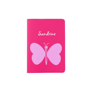 pink butterfly with a name passport holder
