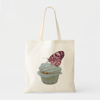 Pink Butterfly with Cupcake Design Tote Bag