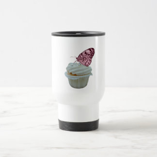 Pink Butterfly with Cupcake Design Travel Mug