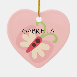 Pink Butterfly with Name Heart Christmas Ornament
