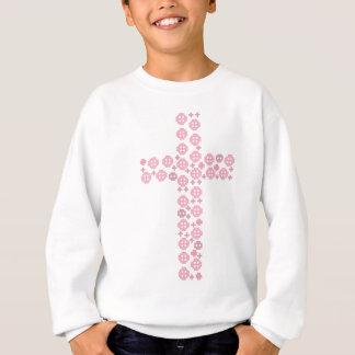 Pink button cross sweatshirt