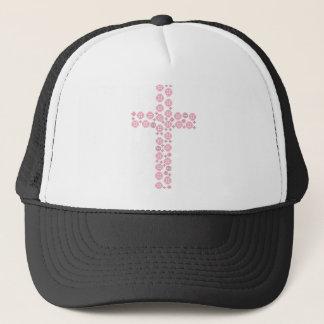 Pink button cross trucker hat