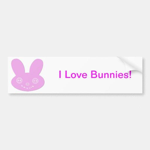 Pink Button Eyed Cute Happy Bunny Bumper Sticker