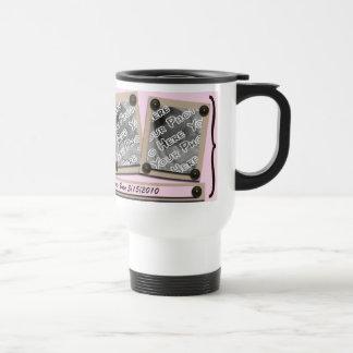 Pink Buttons & Brackets Travel Mug