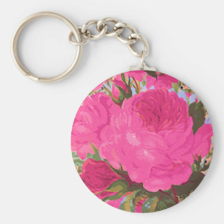 Pink Cabbage Roses Basic Round Button Key Ring