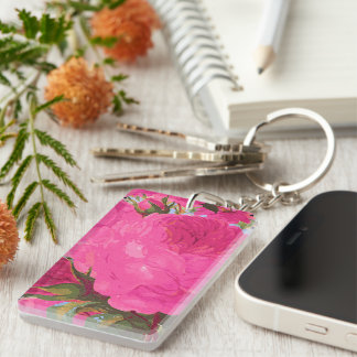 Pink Cabbage Roses Double-Sided Rectangular Acrylic Keychain