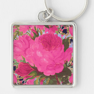 Pink Cabbage Roses Silver-Colored Square Key Ring