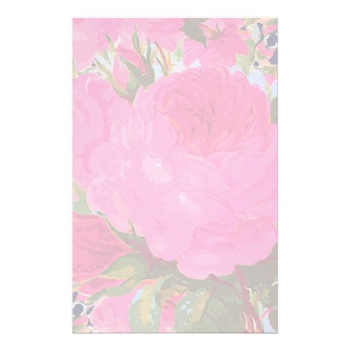 Pink Cabbage Roses Custom Stationery